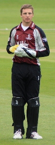 22 year old Jos Buttler keeping for what is soon to be Kieswetter's old county, Somerset